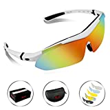 POSHEI P02 Polarized UV Protection Sports Glasses For Men Or Women, Cycling Wrap Sunglasses With 5 Interchangeable Lenses Unbreakable, For Riding Driving Fishing Running Golf And Outdoor Activities (White)