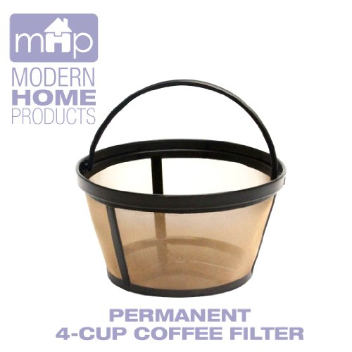 Permanent 4 Cup Basket Shape Gold Tone Coffee Filter fits