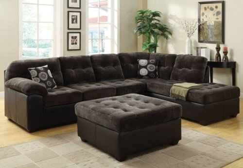 2 pc layce collection two tone charcoal champion fabric and espresso leather like vinyl sectional sofa with tufted seat and back jhgfkjshkg