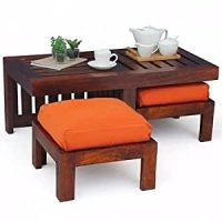 Altavista Perk Coffee Table With Stool (Mahogany Finish