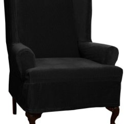 Black Wingback Chair Covers Design Sofa Wing Slipcovers Maytex Collin Stretch 1 Piece Slipcover