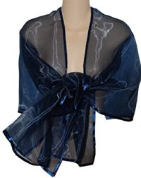 Navy Blue Sheer Organza Evening Wrap Shawl for Prom ...