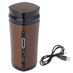 Kingzer Rechargeable USB Cup Warmer Heater Auto Stir for Coffeee Tea Beverage Brown