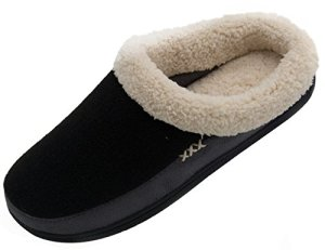 Vonmay-Mens-Wool-Plush-Fleece-Lined-Slip-On-Memory-Foam-Clog-House-Slippers-Indoor-Outdoor