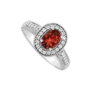 Amazonm January Birthstone Oval Garnet And Cubic