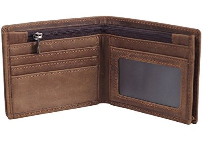Polare-Mens-Cowboy-Genuine-Natural-Crazy-Horse-Leather-Bifold-Wallet