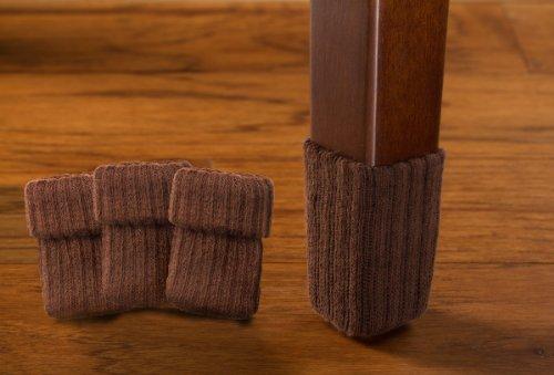 chair bottom pads swing queenstown medium/chocolate brown- furniture floor protection -8 pack ribbed sock protectors