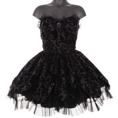 Hell Bunny trägerloses Mini-Kleid PETAL DRESS black