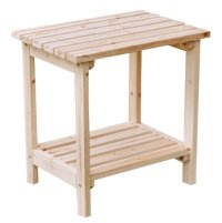 Shine Company Rectangular Patio Side Table, Small, Natural ...