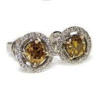Amazon.com: 0.40ct Cognac Diamond Stud Earrings 14k Gold ...