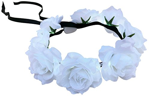 White Rose Flower Crown with LED Lights