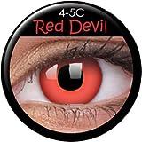Fasching Kontaktlinsen Farbige rote Crazy Fun Kontaktlinsen 'Monster' mit gratis Linsenbehälter Topqualität zu Karneval und Halloween