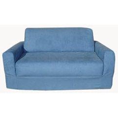 60 Inch Wide Sleeper Sofa Orange Leather Corner Bed - Fun Furnishings Sleeper, Blue Micro Suede Qz-068z