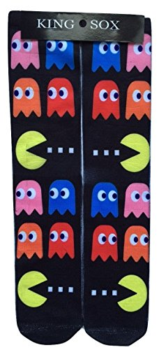 King Sox Sublimation Graphic Print Socks (Unisex Adult 9-11, Pac Man)