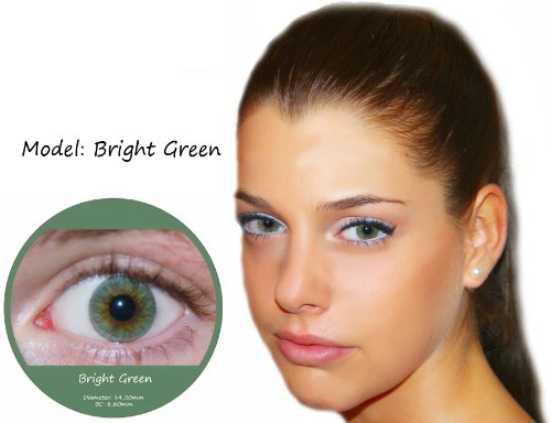 Farbige Kontaktlinsen Grün 3 Monatslinsen Contact lenses Design: Bright Green