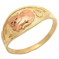Amazon.com: 10K Yellow & Rose Gold Cat Ring With Hearts ...