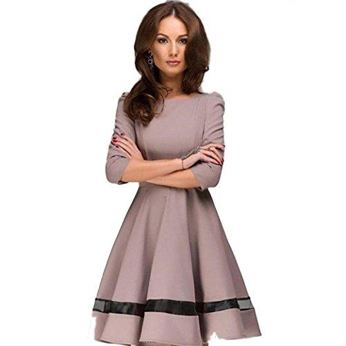 WOCACHI Mode Frauen Damen Volltonfarbe Runde Hals Langarm Plissee Kleid