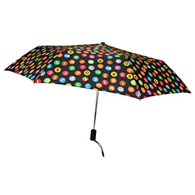 Product Image Automatic Open/Close NYC Subway MTA Sign Umbrella - Black