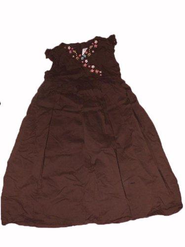 BABY GAP - superschönes langes Kleid - braun - Baumwolle - Blümchenstickerei am V-Ausschnitt - Gr. 110 (US 5T) - aus USA
