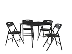 Cosco Products 5-Piece Folding Table and Chair Set, Black