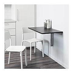Ikea Bjursta Wall-mounted Drop-leaf Table Brown-black