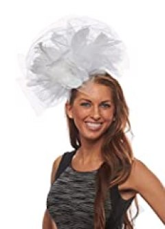 Flaunt It Feathered Fascinator Cocktail Hat with Headband, White