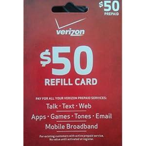 Verizon 50 Prepaid Refill Card mail delivery