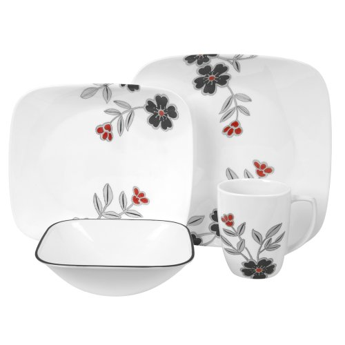 Corelle Mandarin Flower Square Round 16-Piece Dinnerware Set, Service for 4