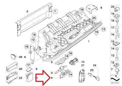[해외]BMW 정품 글러브 박스 래치 핸들 (블랙) 525i 용 52ii 530i 540i 540iP