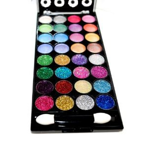 32 Color Design Neon Glitter & Plain Eyeshadow Makeup Kit