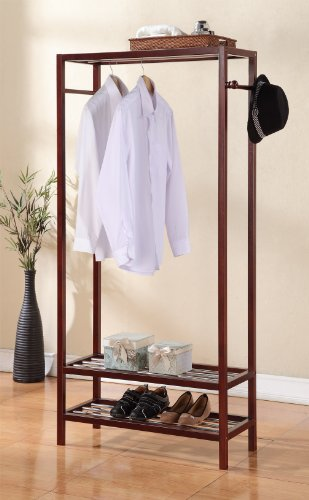 "2 Tier Shelves Shoe Garment Coat Rack Hanger 65""h X 31.5""w Wooden Walnut Finish"