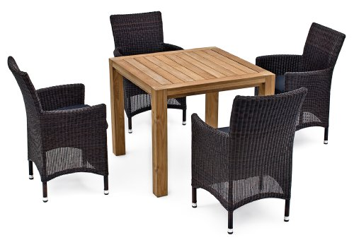 5 piece landmann astena real wood patio furniture set square outdoor teak wood table and 4 chairs with cushions brown black cheap low phuong230520143
