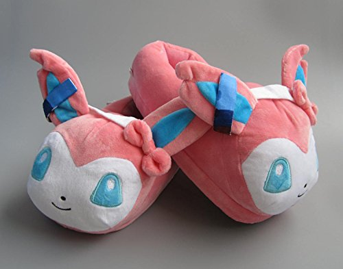 Fatflyshop - Pokemon Sylveon Anime Cartoon Plush Indoor Bedroom Winter Warm Slipper 11