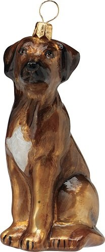 Blown Glass European Dog Ornament -Rhodesian Ridgeback