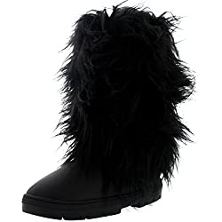 Womens Long Fur Covered Rain Fur Lined Winter Waterproof Tall Snow Boots - 8 - BLL39 EA0380