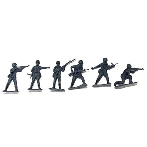 50 Piece Plastic Gray Army Men 2 inch Soldiers Toys Games