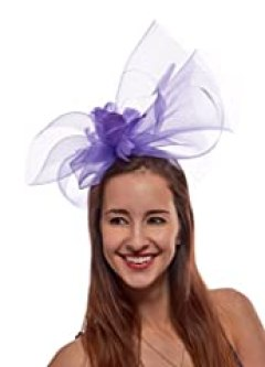 At Wire Fascinator Cocktail Hat with Headband and Comb, Lilac