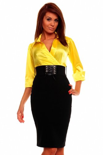 Astrapahl, Business Abendkleid, lange Ärmel, mit Gürtel, Länge knielang, Farbe gelb - schwarz