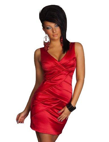 Sexy Damen Satin Minikleid Figurbetonter Schnitt Rot Gr 36