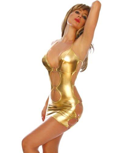 LH-Dessous - 10512 Größe S-L. Super Sexy! Minikleid in trendigem Gold, dass seitlich und vorne von Metallringen zusammengehalten wird. Am Rücken und Nacken zu schnüren