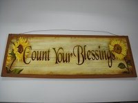 Sunflower Count Your Blessings Wooden Wall Art Sign ...