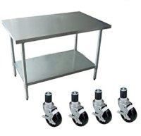Amazon.com: Work Table with 4 Casters Wheels Stainless ...