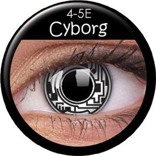 Farbige Kontaktlinsen crazy Kontaktlinsen crazy contact lenses schwarz weiß Cyborg Roboter 1 Paar mit 60ml Kombilösung und Linsenbehälter