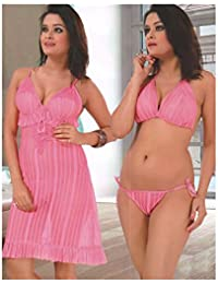 f5ba5b08d7 Indiatrendzs Women Pink Stretchable Net Sexy Short Night Dress With Lingerie  3pc Set