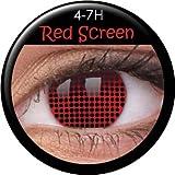Fasching Kontaktlinsen Farbige Kontaktlinsen crazy Kontaktlinsen crazy contact lenses rot red 1 Paar mit 60ml Kombilösung und Kontaktlinsenbehälter