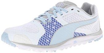 PUMA Women's Faas Xlite Golf Shoe Spikeless, White/Omphalodes/Ultramarine, 9.5 M US
