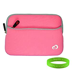 Pink Nook Simple Touch Sleeve with Barnes and Noble Nook 2nd Edition Accessories Zipper Pocket for Barnes & Noble NOOK Touch eBook Reader (NEWEST model, WIFI Only) + Live * Laugh * Love Vangoddy Wrist Band!!!