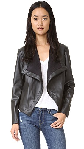 BB Dakota Women's Peppin Vegan Leather Drapey Jacket, Black, Small