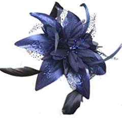 Elegant navy Blue chiffon Flower & feather fascinator On comb, ideal Wedding,Ladies day, Ascot, Derby, Special occasion .