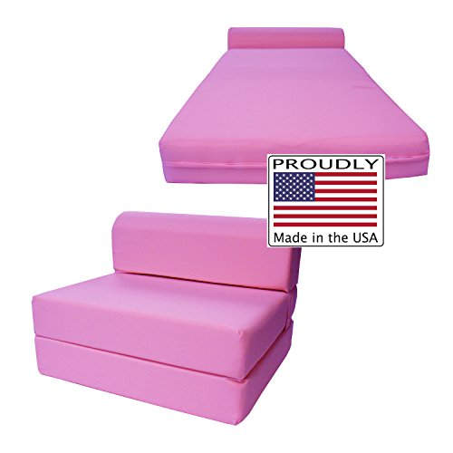 folding foam bed chair places to rent covers for a wedding pink sleeper sized 6 thick x 32 wide 70 long studio guest foldable beds sofa couch high density 1 8 pounds